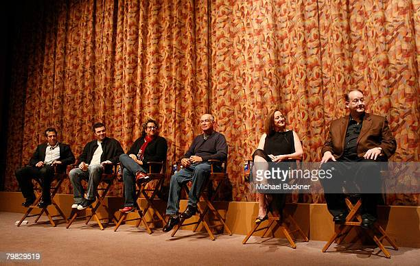Writers Darren Star Seth MacFarlane Jenji Kohan Gary David Goldberg Cindy Chupack and Marc Cherry attend the That's Not Funny panel discussion hosted...