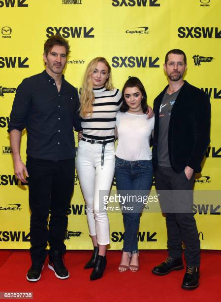 Writers David Benioff actors Sophie Turner Maisie Williams and writer DB Weiss attend 'Featured Session Game of Thrones' during 2017 SXSW Conference...