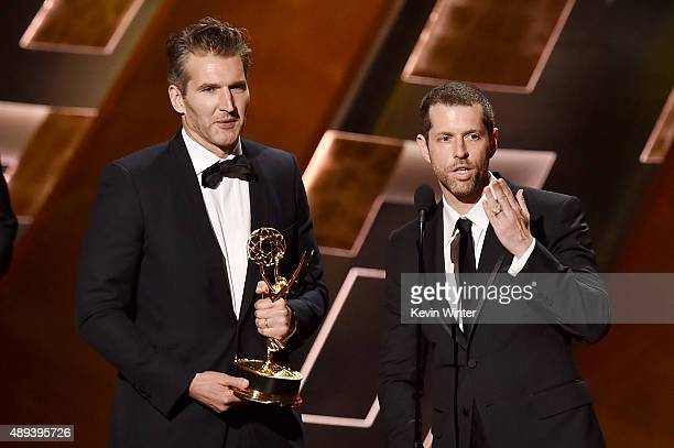 Writers David Benioff and DB Weiss accept Outstanding Writing for a Drama Series award for 'Game of Thrones' onstage during the 67th Annual Primetime...