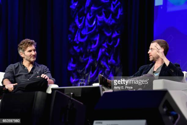 Writers David Benioff and DB Weiss speak onstage at 'Featured Session Game of Thrones' during 2017 SXSW Conference and Festivals at Austin Convention...