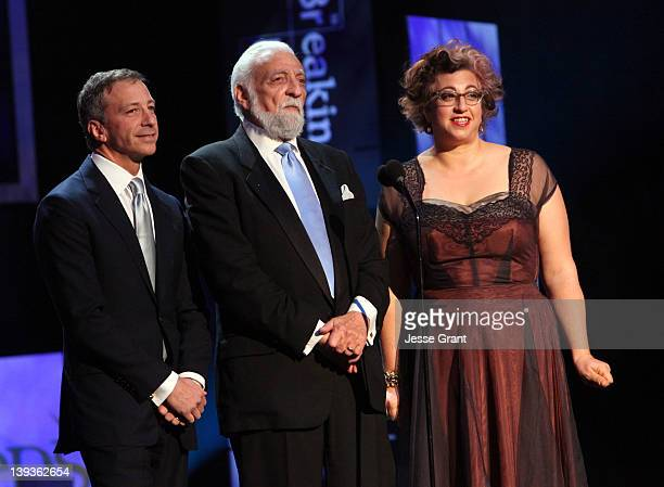 Writers David Kohan Buz Kohan and Jenji Kohan attend the 2012 Writers Guild Awards at the Hollywood Palladium on February 19 2012 in Los Angeles...