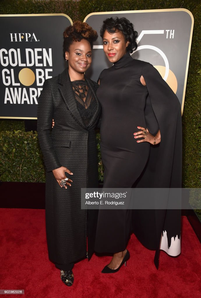 Writers Dee Rees and Sarah Broom attend The 75th Annual Golden Globe Awards at The Beverly Hilton Hotel on January 7, 2018 in Beverly Hills, California.
