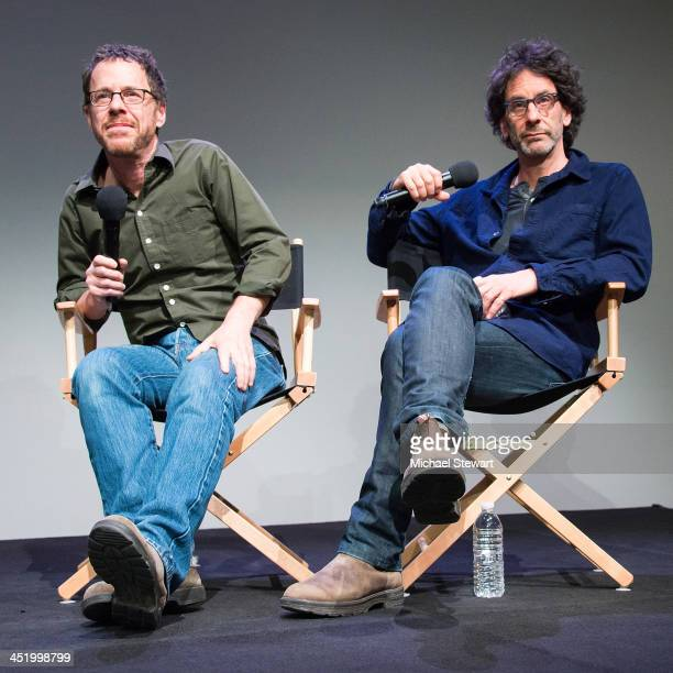 Writers / Directors Ethan Coen and Joel Coen attend Meet the Filmmakers at the Apple Store Soho on November 25 2013 in New York City