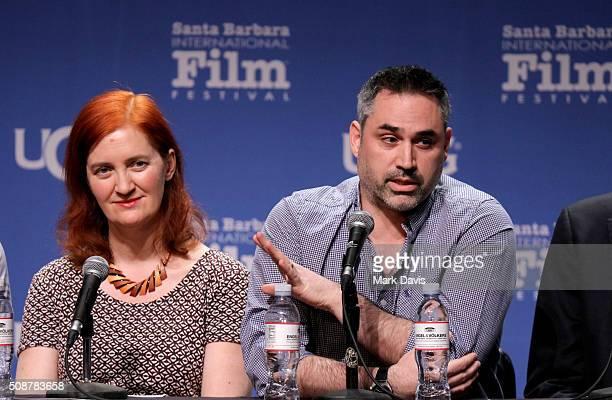 Writers Emma Donoghue and Alex Garland speak at the Writer's Panel at the Lobero at the 31th Santa Barbara International Film Festival on February 6...