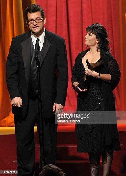 Writers Erik Patterson and Jessica Scott onstage at the 2010 Writers Guild Awards held at the Hyatt Regency Century Plaza on February 20 2010 in...