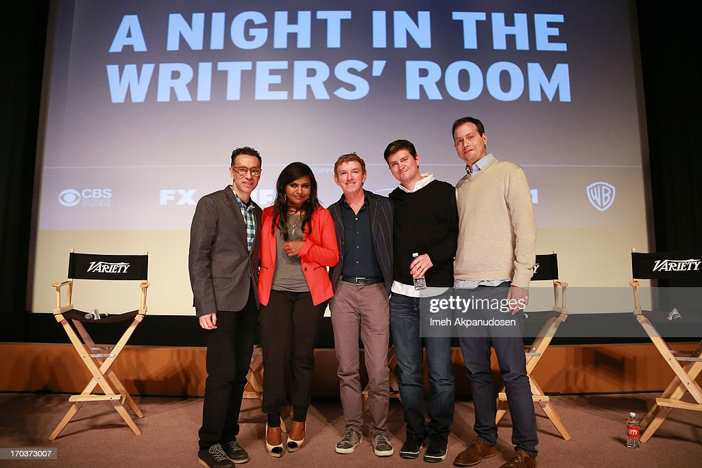 Writers Fred Armisen, Mindy Kaling, Michael Patrick King, Mike Schur, and Daniel J. Goor pose onstage at Variety's A Night In The Writers' Room at Writers Guild Theater on June 11, 2013 in Beverly Hills, California.