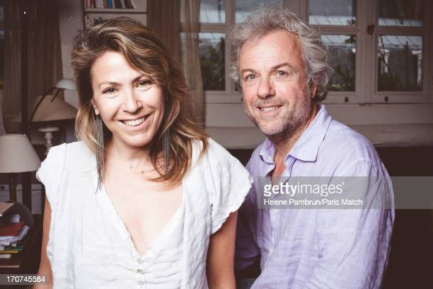Writers Frederic Lenoir and Simonetta Greggio are photographed for Paris Match on May 29, 2013 in Paris, France.