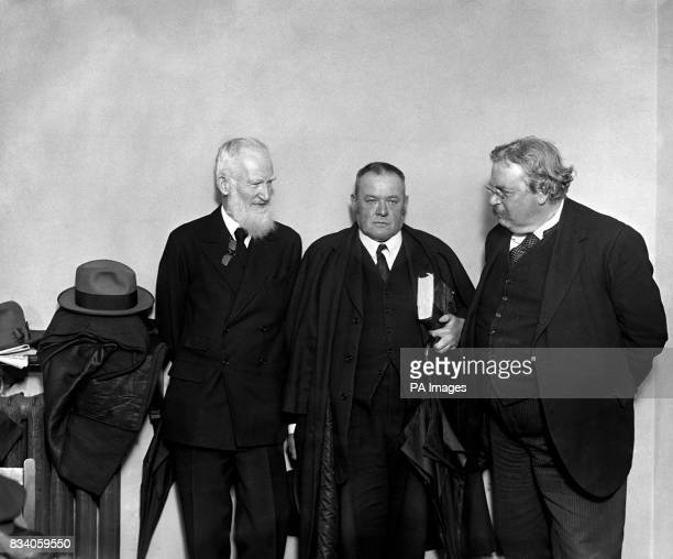 Writers George Bernard Shaw Hilaire Belloc and GK Chesterton during a London debate