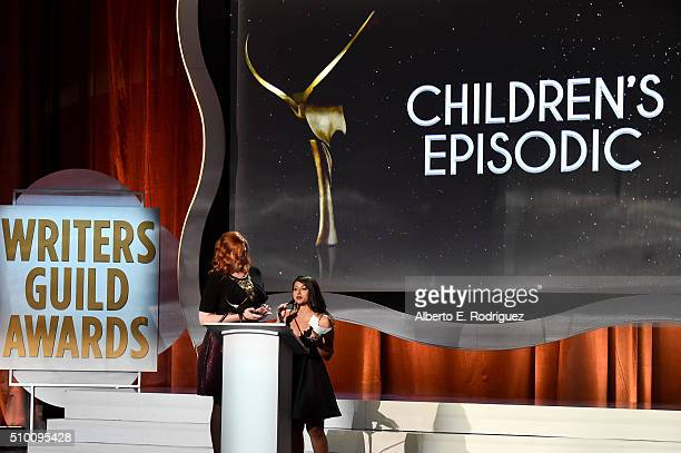 Writers Gretchen Enders and Aminta Goyel accept the Children's Episodic award for 'Gortimer Gibbon's Life on Normal Street' onstage during the 2016...