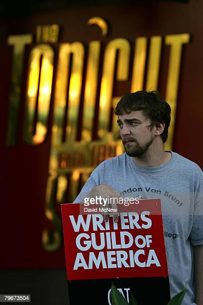 Writers Guild of America members and supporters picket near the Tonight Show with Jay Leno theater at NBC studios as hope grows that a draft copy of...