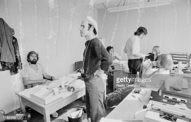 Writers Ian MacNaughton Neil Innes Terry Jones Michael Palin unknown and Graham Chapman in a script conference for BBC television show 'Monty...