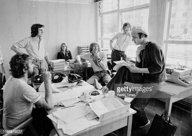 Writers Ian MacNaughton Terry Jones unknown Graham Chapman Michael Palin and Neil Innes in a script conference for BBC television show 'Monty...