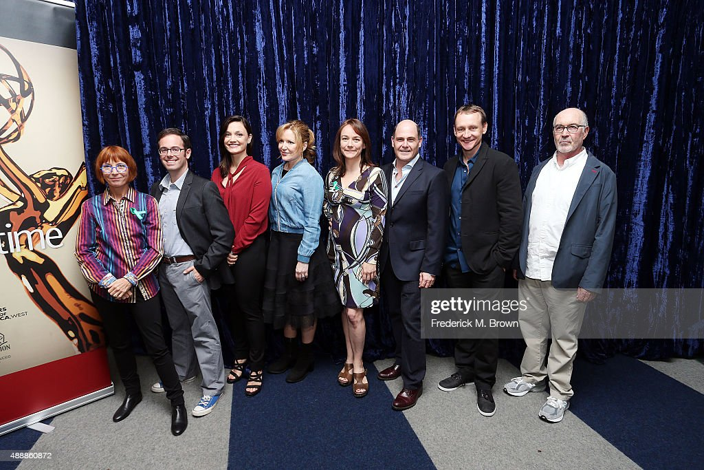 Writers Jane Anderson, Elliott Kalan, Christine Nangle, Stephanie Gillis, Semi Chellas, Matthew Weiner, Alec Berg, and Joshua Brand attend WGAW's Sublime Primetime 2015 Featuring Emmy Nominated-Writers at the Writers Guild Theater on September 17, 2015 in Beverly Hills, California.