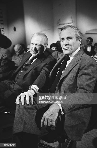 Writers Jean Dutourd and Jean d'Ormesson on TV 'Apostrophes' in Paris France on May 22 1987