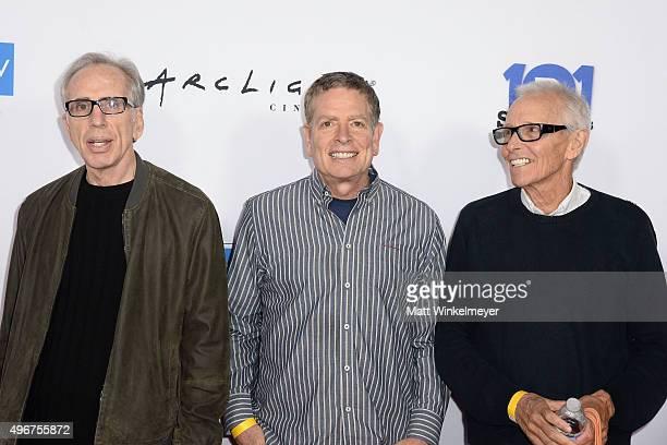 Writers Jerry Zucker David Zucker and Jim Abrahams arrive at the WGA's 101 Funniest Screenplays at ArcLight Cinemas Cinerama Dome on November 11 2015...