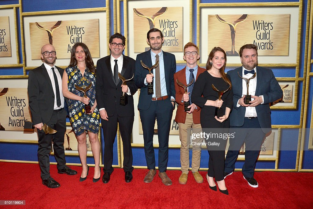 Writers (from 2nd L) Joelle Boucai, Josh Halloway, Jeff Loveness, Bridger Winegar, Bess Kalb, and Jack Allison, recipients of the Comedy/Variety Specials award for 'Jimmy Kimmel Live: 10th Annual After The Oscars Special,' poses in the Press Room during the 2016 Writers Guild Awards at the Hyatt Regency Century Plaza on February 13, 2016 in Los Angeles, California.