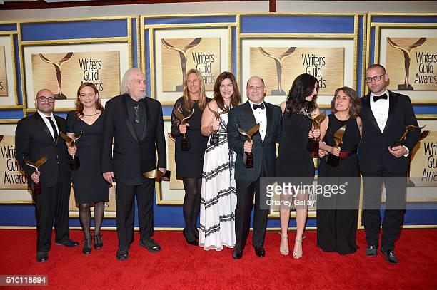 Writers Jonathan Igla Semi Chellas Robert Towne Janet Leahy Carly Wray Matthew Weiner Erin Levy Lisa Albert and Tom Smuts winners of the Drama Series...