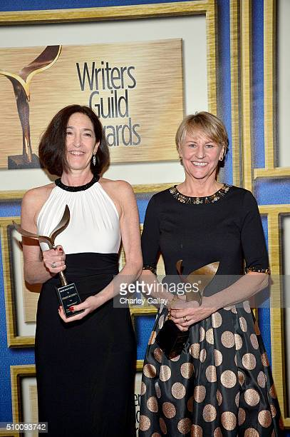 Writers Josann McGibbon and Sara Parriott cowinners of the Children's Long Form award for 'Descendants' pose in the Press Room during the 2016...