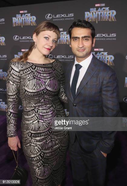 Writers Kumail Nanjiani and Emily V Gordon at the Los Angeles World Premiere of Marvel Studios' BLACK PANTHER at Dolby Theatre on January 29 2018 in...