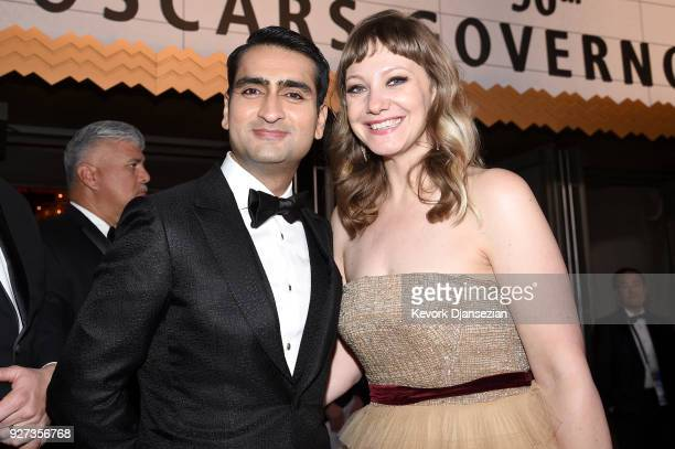 Writers Kumail Nanjiani and Emily V Gordon attend the 90th Annual Academy Awards Governors Ball at Hollywood Highland Center on March 4 2018 in...