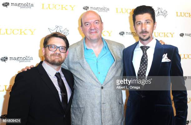 Writers Logan Sparks director John Carroll Lynch and Drago Sumonja arrive for the Premiere Of Magnolia Pictures' 'Lucky' held at Linwood Dunn Theater...