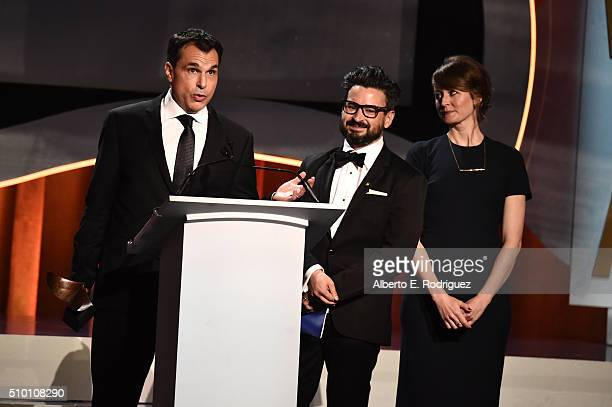 Writers Matt Pyken David Iserson and Kate Erickson accept the New Series award for 'Mr Robot' onstage during the 2016 Writers Guild Awards at the...