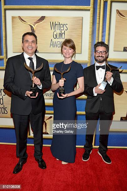 Writers Matt Pyken Kate Erickson and David Iserson winners of the New Series award for 'Mr Robot' pose in the Press Room during the 2016 Writers...