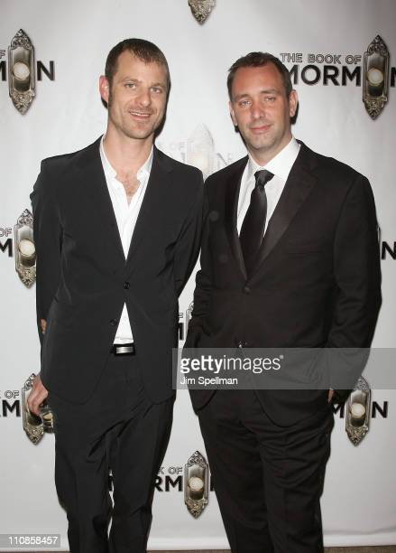 Writers Matt Stone and Writer Trey Parker attend the after party for the opening night of 'the Book of Mormon' on Broadway on March 24 2011 in New...