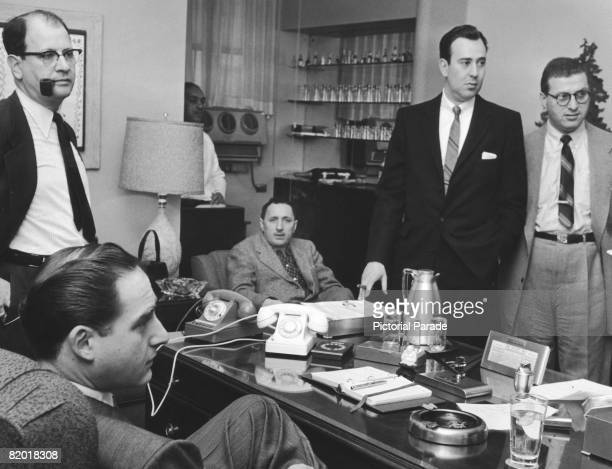 A writers' meeting for the NBC comedy sketch programme 'Your Show of Shows' circa 1952 Seated left is the show's star Sid Caesar and second from...