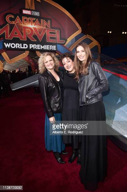 Writers Meg LeFauve Nicole Perlman and Geneva RobertsonDworet attend the Los Angeles World Premiere of Marvel Studios' Captain Marvel at Dolby...