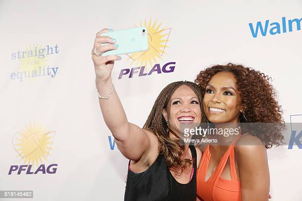 Writers Melissa HarrisPerry and Janet Mock attend the PFLAG National's Eighth Annual Straight for Equality Awards Gala at The New York Marriott...