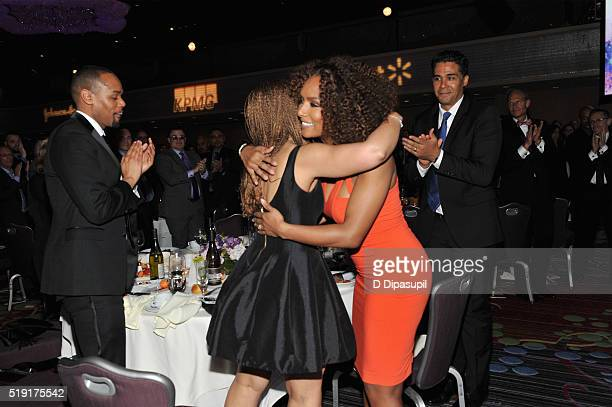 Writers Melissa HarrisPerry and Janet Mock embrace at PFLAG National's eighth annual Straight for Equality awards gala at Marriot Marquis on April 4...