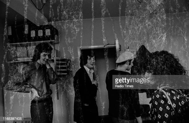 Writers Michael Palin and Neil Innes in a script conference for BBC television show 'Monty Python's Flying Circus' 1974