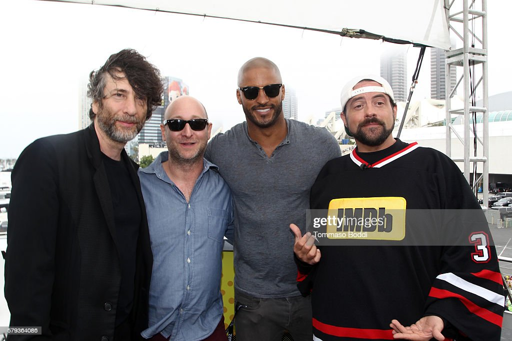 Writers Neil Gaiman, Michael Green, actor Ricky Whittle and host Kevin Smith attend the IMDb Yacht at San Diego Comic-Con 2016: Day Three at The IMDb Yacht on July 23, 2016 in San Diego, California.