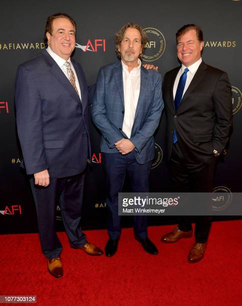 Writers Nick Vallelonga Peter Farrelly and Brian Hayes Currie attend the 19th Annual AFI Awards at Four Seasons Hotel Los Angeles at Beverly Hills on...