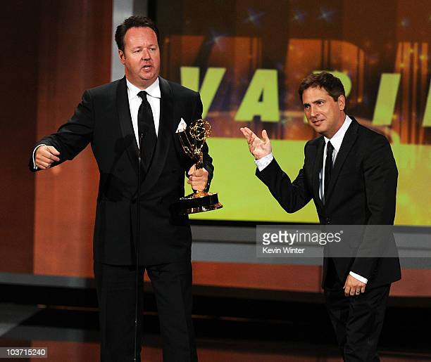 Writers Paul Greenberg and Dave Boone accept the Outstanding Writing For A Variety Music Or Comedy Special award for '63rd Annual Tony Awards'...