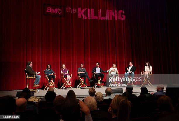 Writers Pete Hammond Veena Sud actors Mireille Enos Joel Kinnaman Billy Campbell Kristin Lehman Brent Sexton and Jamie Anne Allman attend 'The...