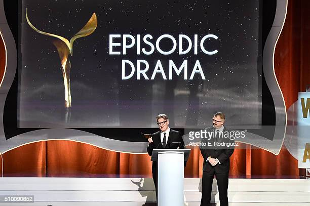 Writers Peter Gould and Vince Gilligan accept the Episodic Drama award for 'Better Call Saul' onstage during the 2016 Writers Guild Awards at the...