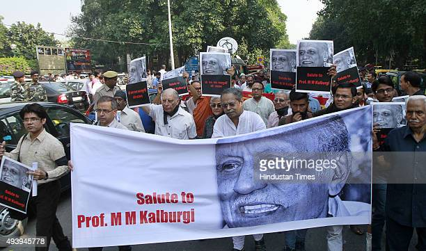 Writers readers and cultural activists participate in a silent protest against MM Kalburgi's murder at Mandi House on October 23 2015 in New Delhi...