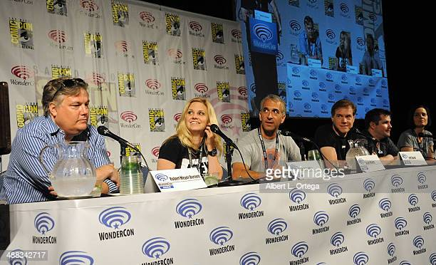 Writers Robert Meyer Burnett Nikki Griffin Scott Mantz Ashley Edward Miller and Kay Reindl attend WonderCon Anaheim 2014 Day 3 held at Anaheim...