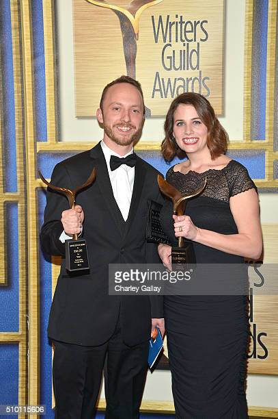Writers Sean M Love and Callie Hersheway recipients of the Comedy Series award for 'Veep' pose in the Press Room during the 2016 Writers Guild Awards...