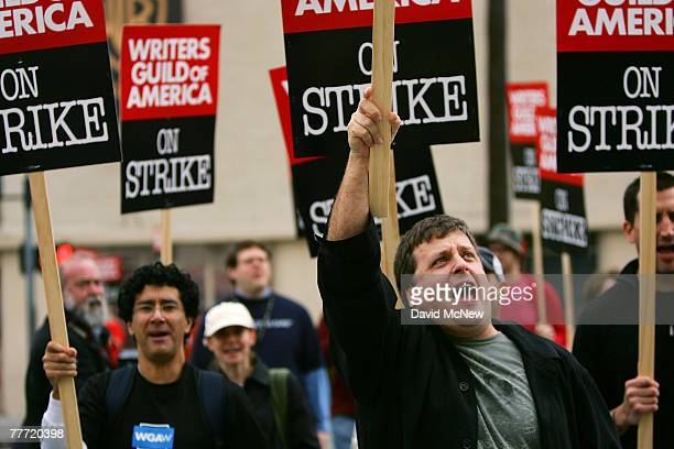 Writers set up a picket line outside Warner Brothers Studios after contract talks between the Writers Guild of America and the Alliance of Motion...
