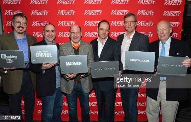 Writers Vince Gilligan Terence Winter Matthew Weiner Gareth Neame Alex GansaJulian Fellowes attend Variety's Primetime Emmy Elite Showrunners...