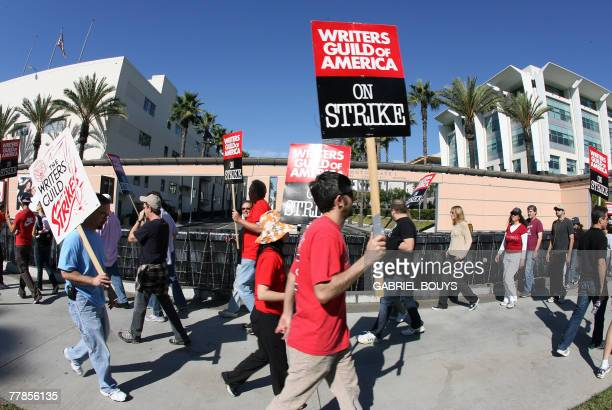 Writers walk the picket line in front of Fox Studio in Los Angeles California 12 November 2007 as the writers' strike moves into its second week Some...