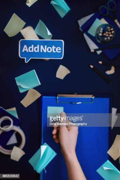 Writer's workplace: sticky notes