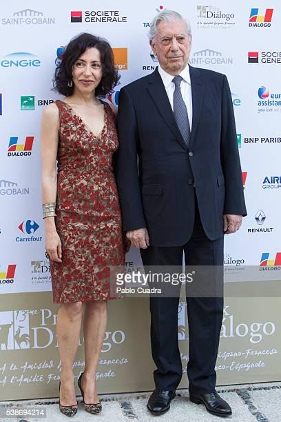 Writers Yasmina Reza and Mario Vargas Llosa attend 'Prix del Dialogo' award 2016 at 'Casa Monico' on June 7 2016 in Madrid Spain