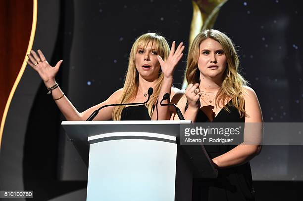 Writers/actresses Charlotte Newhouse and Jillian Bell speak onstage during the 2016 Writers Guild Awards at the Hyatt Regency Century Plaza on...