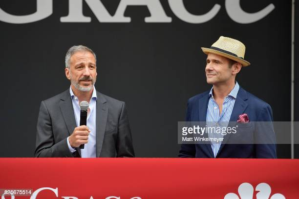 Writers/creators David Kohan and Max Mutchnick attend the 'Will Grace' ribbon cutting Ceremony on August 2 2017 in Los Angeles California