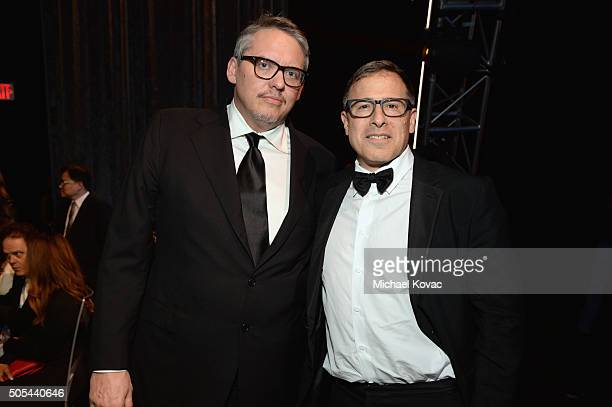 Writers/directors Adam McKay and David O Russell attend the 21st Annual Critics' Choice Awards at Barker Hangar on January 17 2016 in Santa Monica...