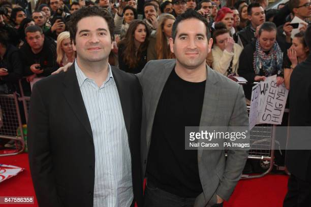 Writers/directors Jon Hurwitz and Hayden Schlossberg pose on the red carpet at the Irish premiere of American Pie The Reunion at the Savoy Cinema in...